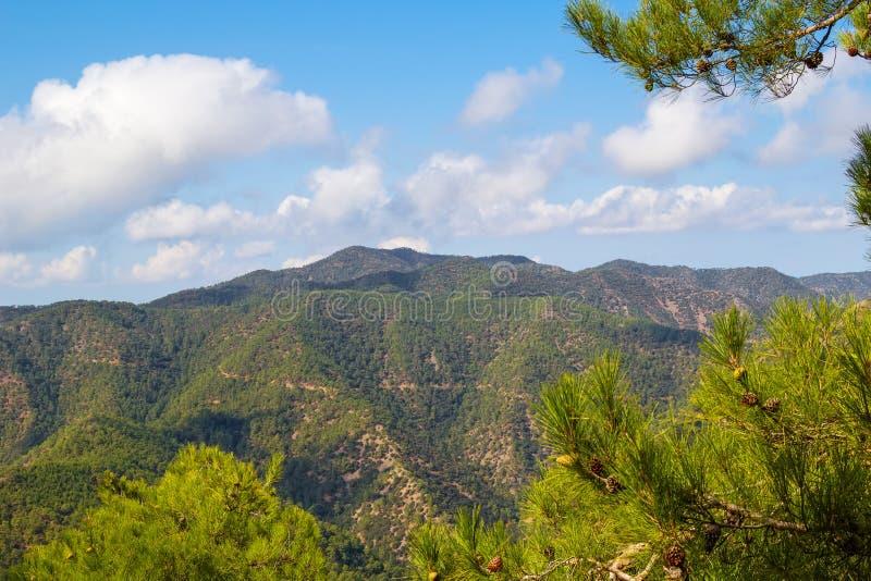 Troodos山风景,塞浦路斯 免版税库存图片