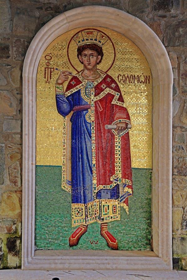 King Solomon Mosaic icon in greek orthodox church, Cyprus. stock image