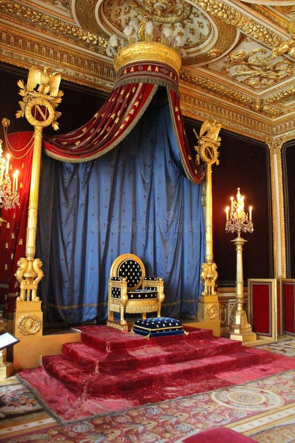 Troon van Napoleon, Fontainebleau, Frankrijk stock foto