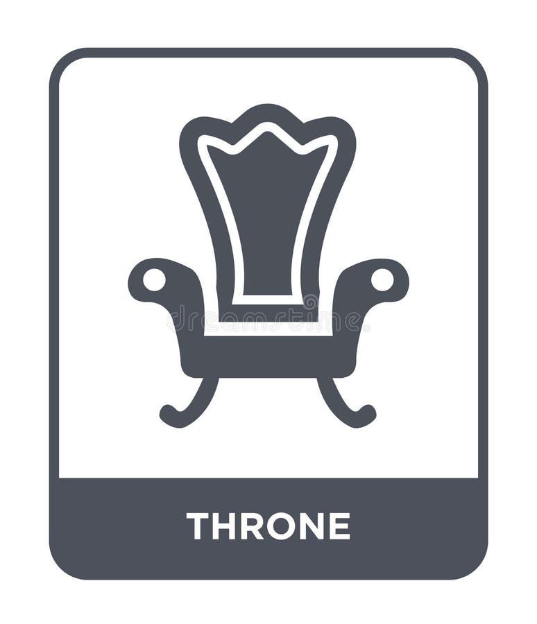 troonpictogram in in ontwerpstijl troonpictogram op witte achtergrond wordt geïsoleerd die eenvoudige en moderne vlakke symbool v royalty-vrije illustratie