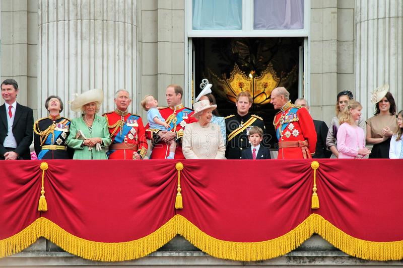 Queen Elizabeth & prince harry, william, kate, charles, philip Royal family Trooping of the colour Balcony 2015. Queen Elizabeth, LONDON, UK - JUNE 13: Prince royalty free stock photo