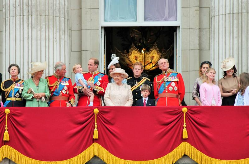 Queen Elizabeth & prince harry, william, kate, charles, philip Royal family Trooping of the colour Balcony 2015. Queen Elizabeth, LONDON, UK - JUNE 13: Prince royalty free stock image