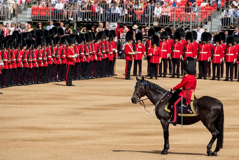 Trooping the Colour military parade at Horse Guards Parade, Westminster, London UK, with Household Division soldiers. royalty free stock photo