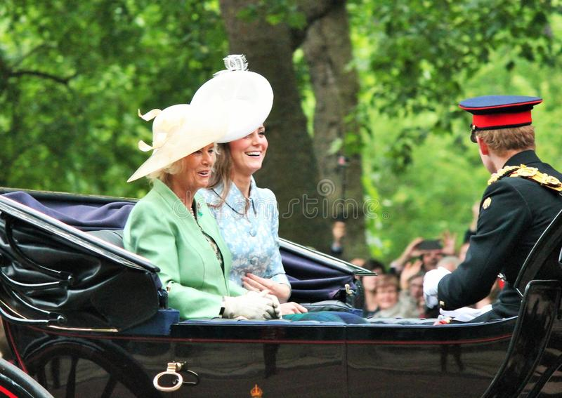 Kate Middleton, Camilla Parker bowles, Trooping of the colour Kate and Camilla 2015. Kate Middleton, LONDON, UK - JUNE 13: Prince Harry, Kate Middleton, Camilla stock photography
