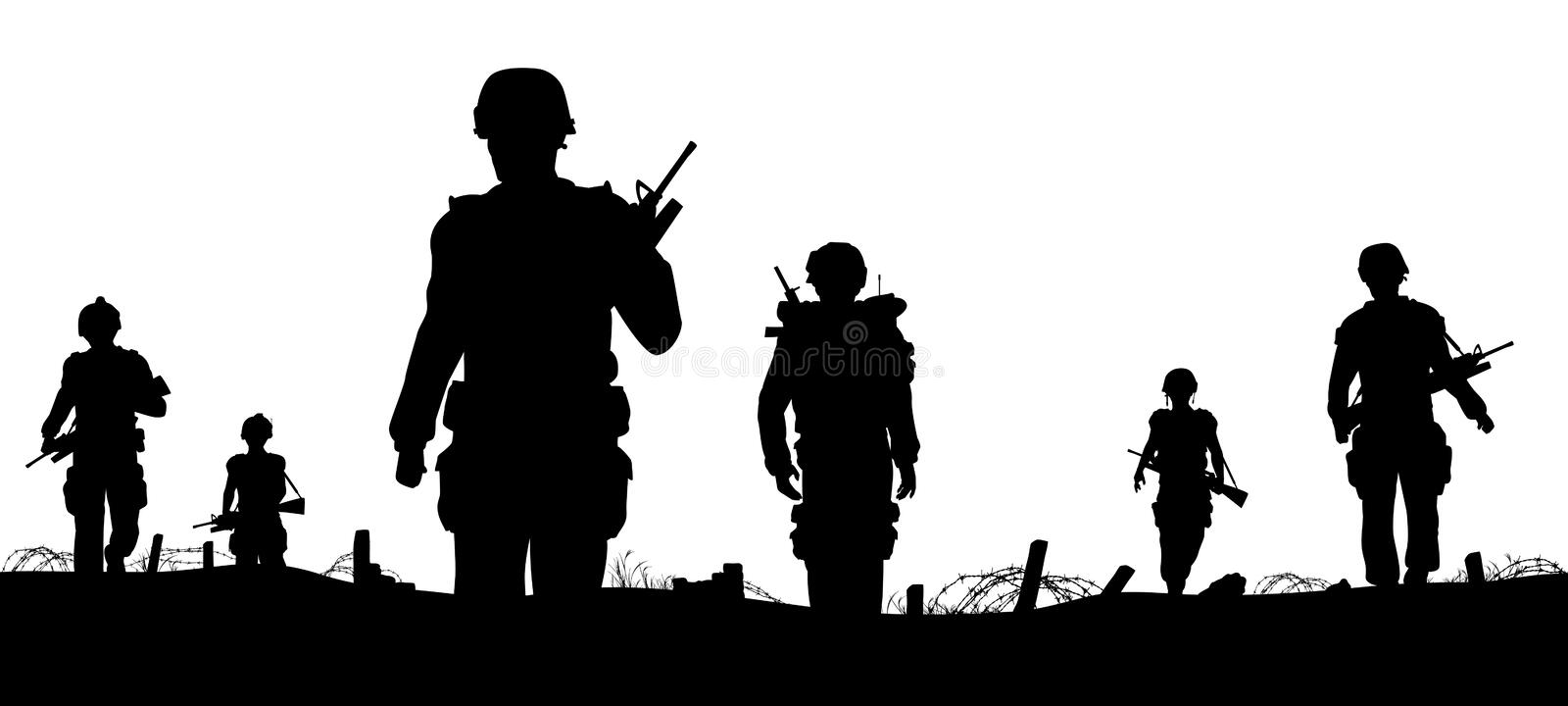 Troops foreground. Editable vector foreground of silhouettes of walking soldiers on patrol with figures as separate elements