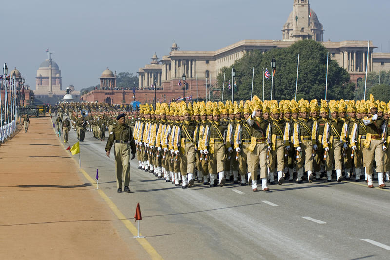Troops On The March In Delhi royalty free stock photography