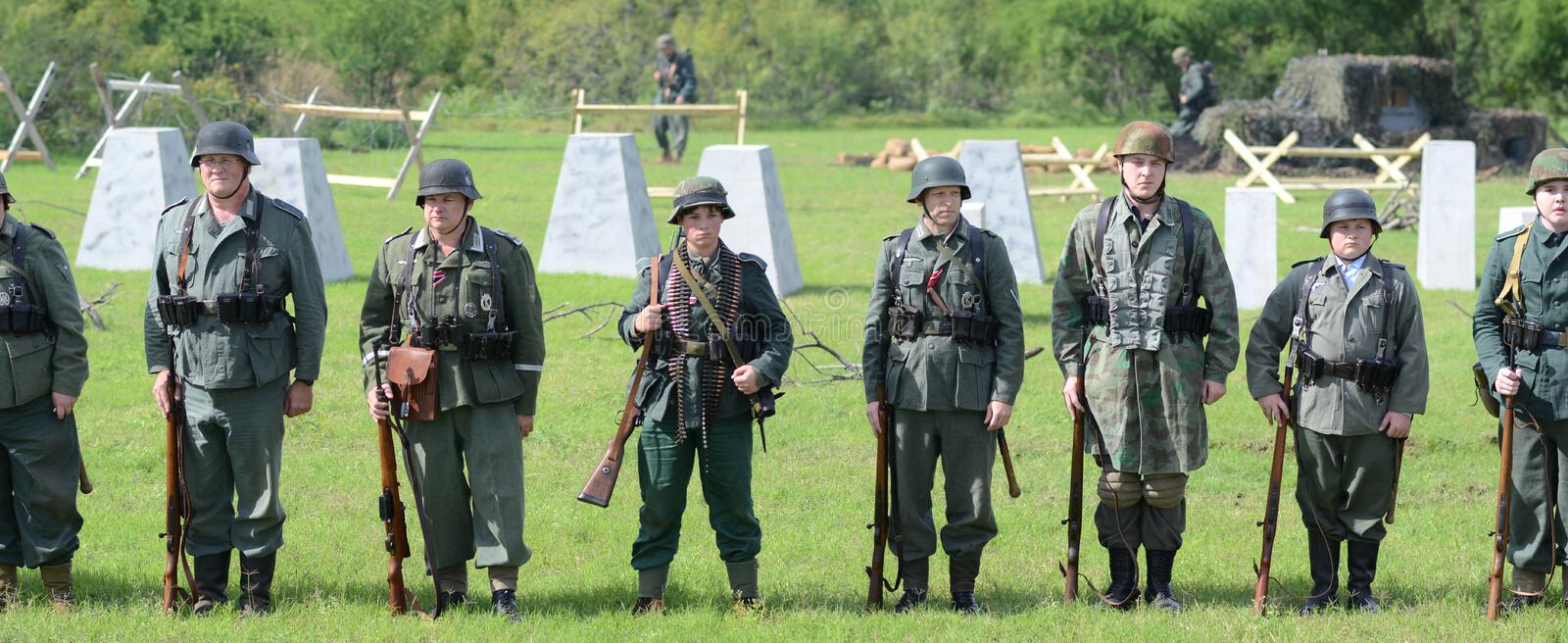 Troops at WWII reenactment stock image