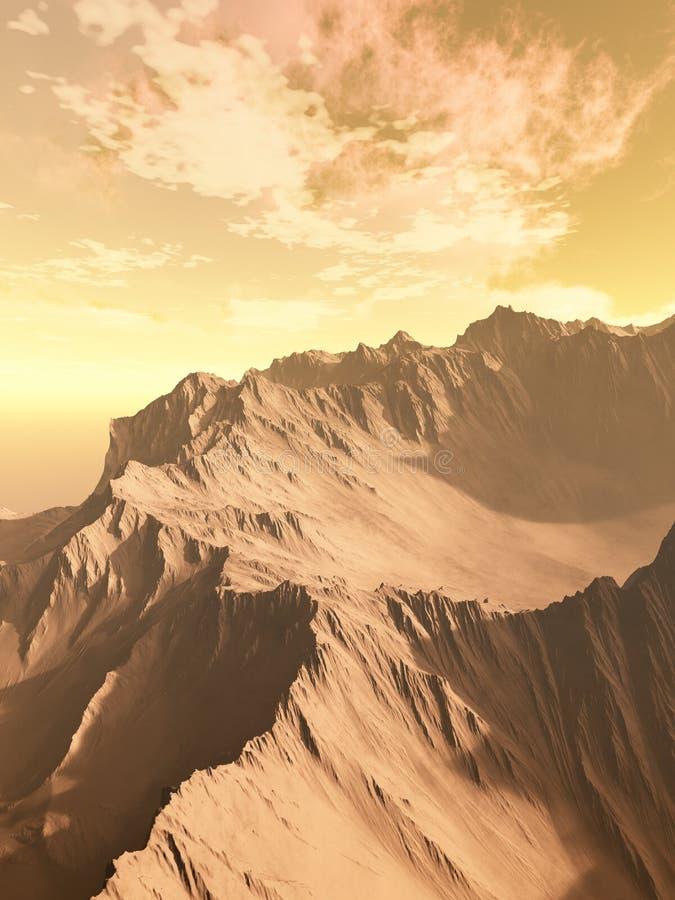 Troosteloze Woestijnbergen stock illustratie