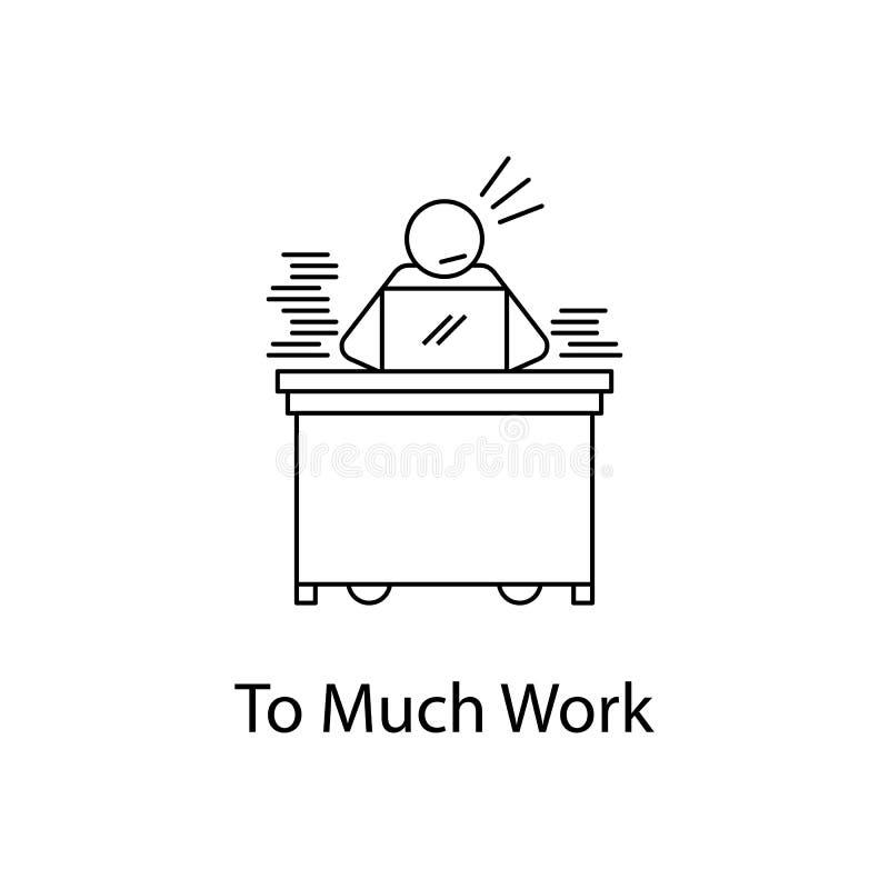 trop d'icône de travail Personnes d'élément sur le lieu de travail pour les apps mobiles de concept et de Web La ligne mince icôn illustration de vecteur