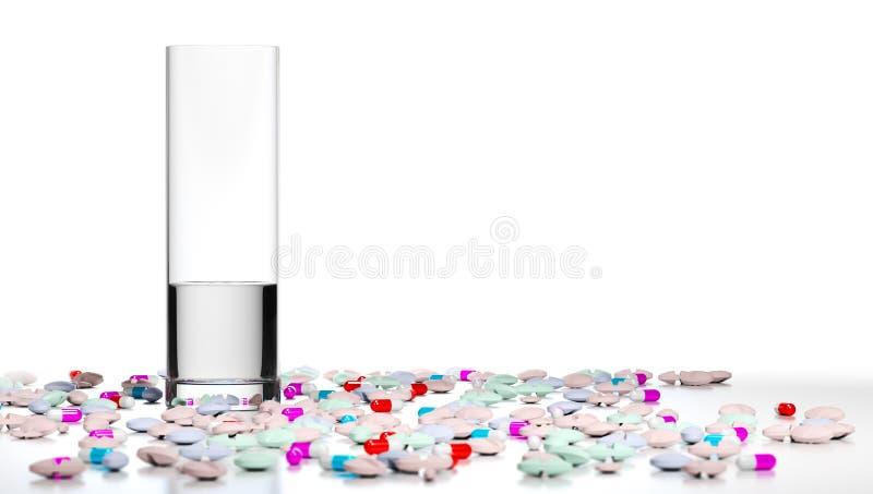 Trop de pilules, Overmedication illustration libre de droits