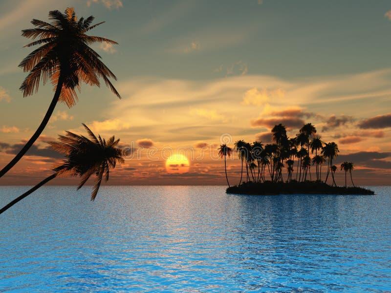 Trop_Isl_Sunset illustration de vecteur