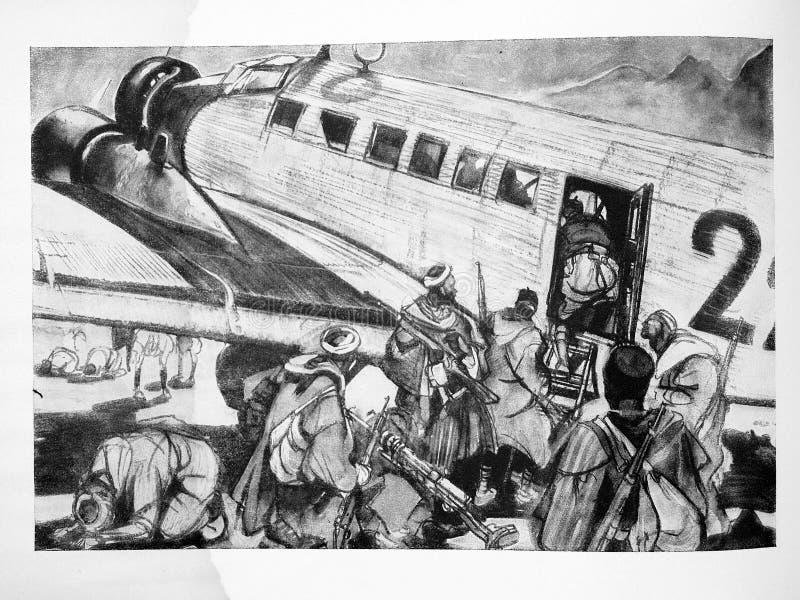 Tropas de regulars marroquinos em um JU 52 Guerra civil espanhola imagens de stock