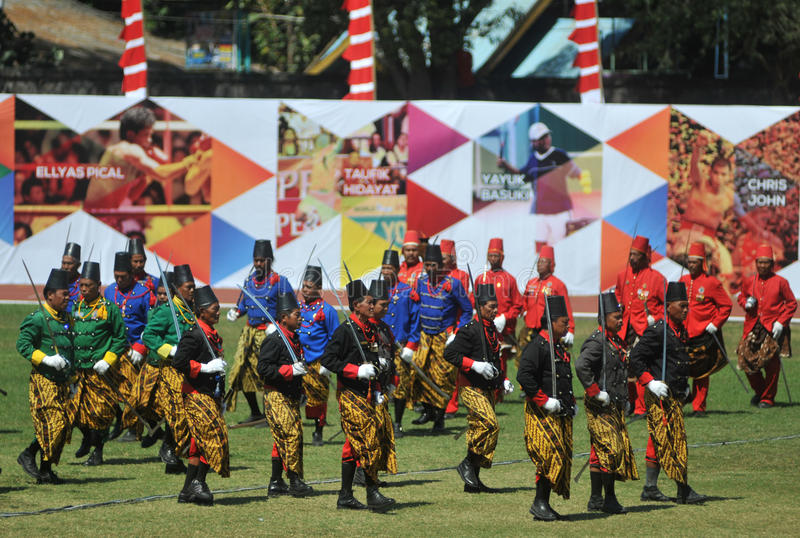 Tropas do sultanato de Kraton Surakarta fotografia de stock royalty free