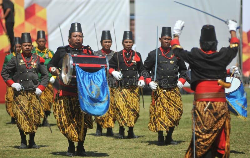 Tropas do sultanato de Kraton Surakarta foto de stock royalty free