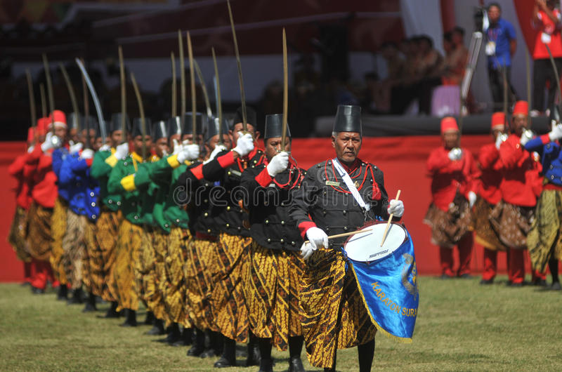Tropas do sultanato de Kraton Surakarta imagem de stock royalty free