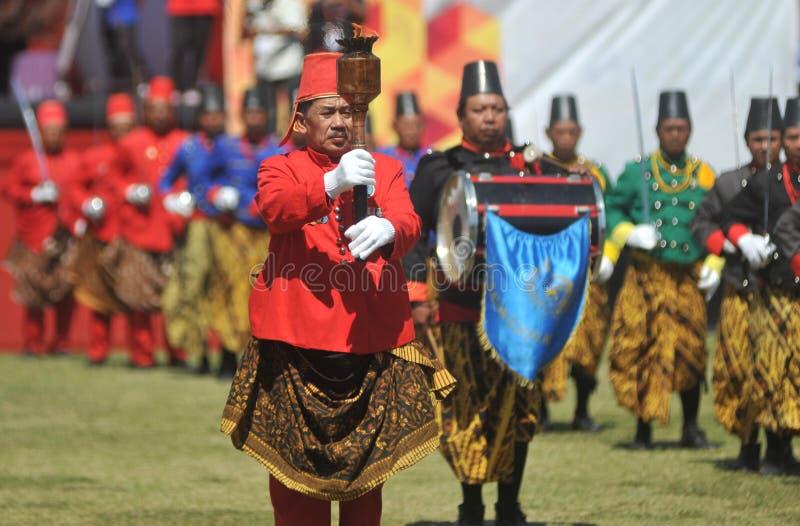 Tropas do sultanato de Kraton Surakarta fotografia de stock