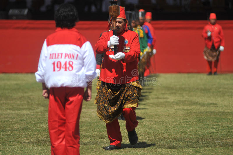 Tropas do sultanato de Kraton Surakarta fotos de stock