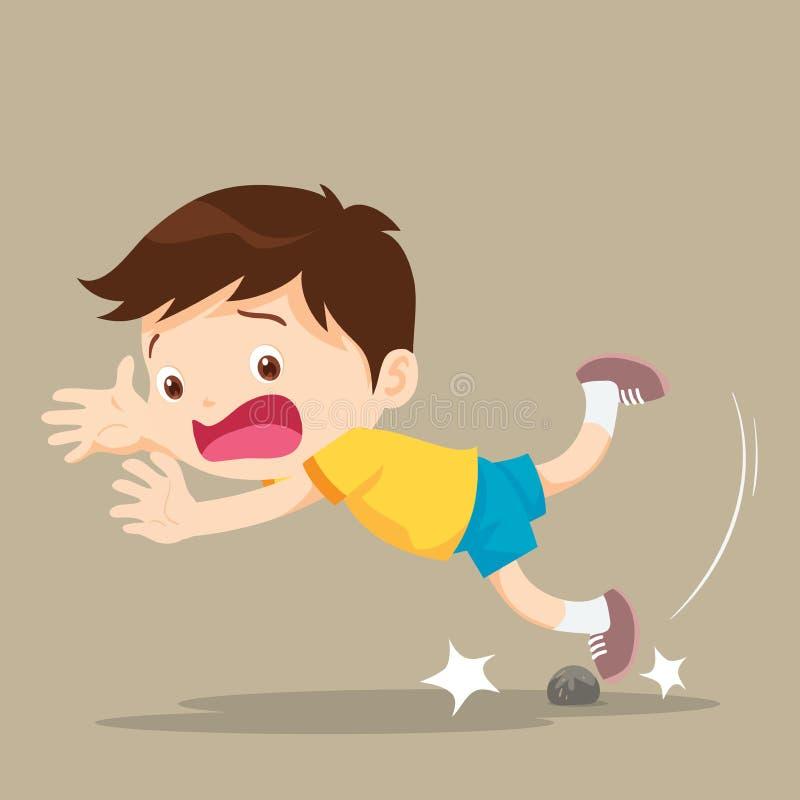 Tropeço de queda do menino que tropeça sobre a pedra ilustração royalty free