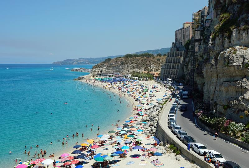 Tropea, Calabria, Italy public beach high scenic view from the south royalty free stock photography
