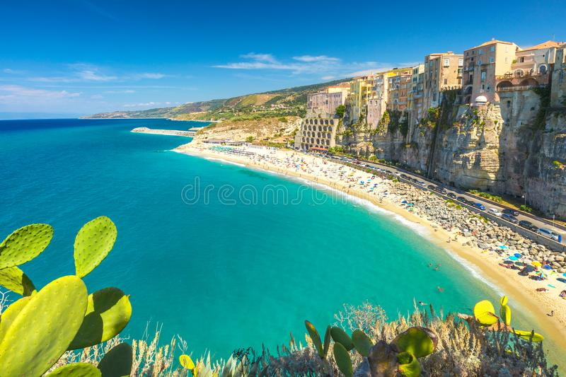 Tropea town and beach. stock images