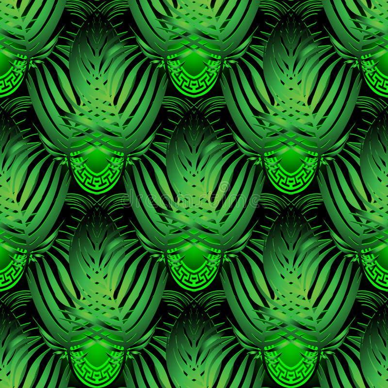 Tropen lassen Vektor 3d nahtloses Muster Glühender Hintergrund der dekorativen griechischen Art Tropischer Hintergrund der belaub lizenzfreie abbildung