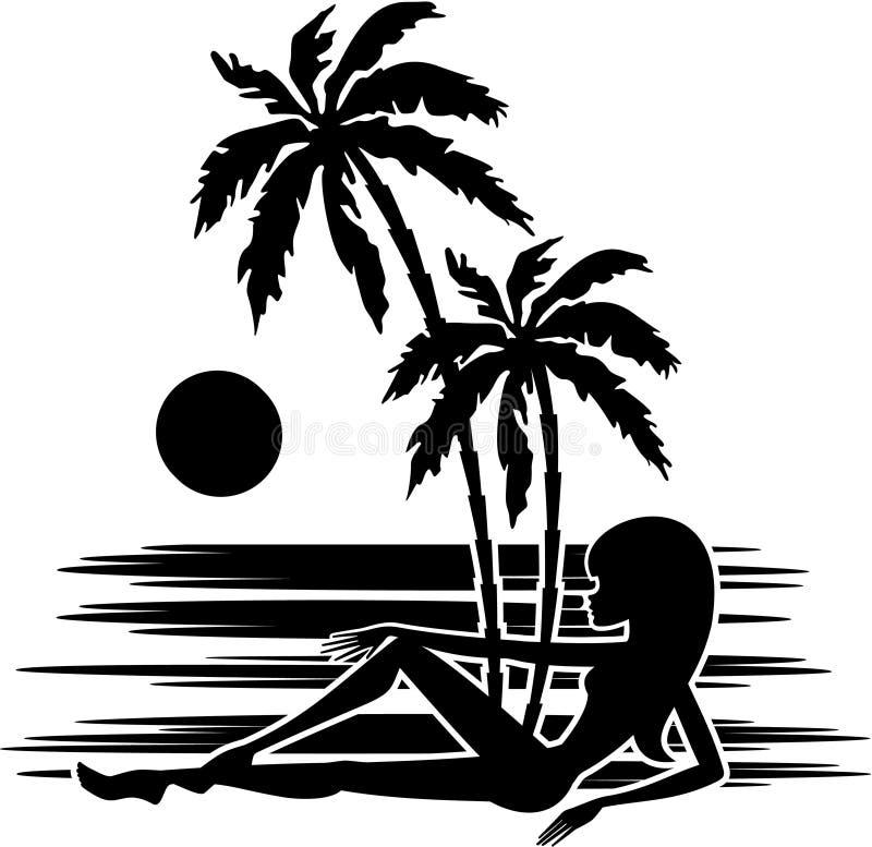 Tropen. Palmen und Frauenschattenbild lizenzfreie abbildung
