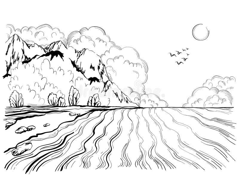 Tropeninsel im Ozean mit mit Hochgebirge, Handgezogene Illustration stock abbildung