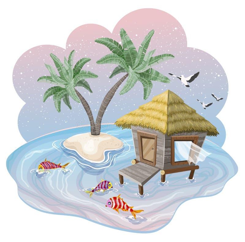 Tropeninsel im Ozean mit Palmen und im Bungalow bei schönem Sonnenuntergang vektor abbildung