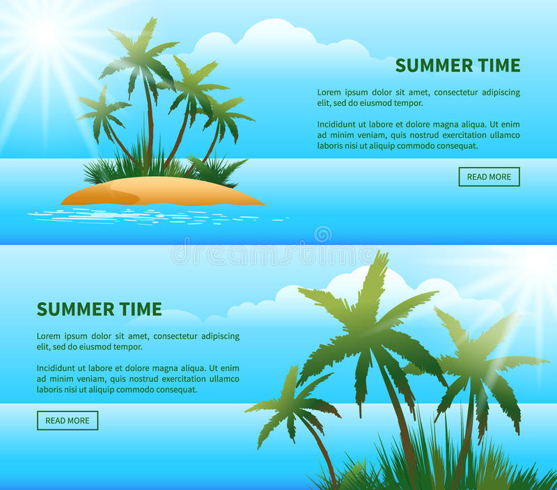 Tropeninsel, Palme-Netzfahnen lizenzfreie abbildung