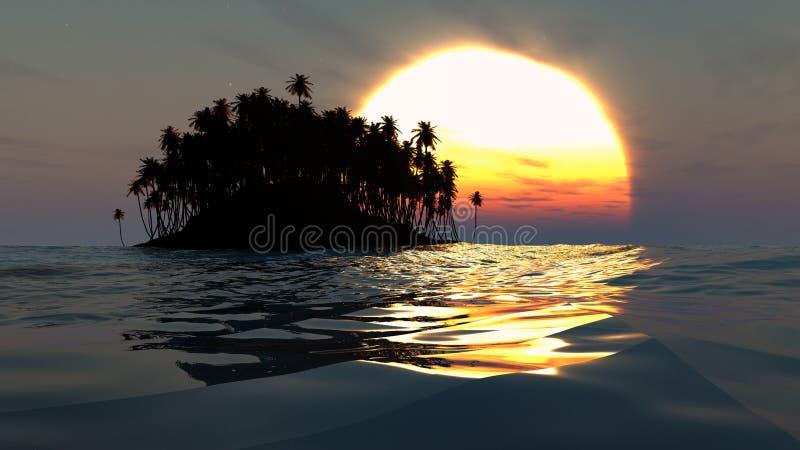 Tropeninselschattenbild über Sonnenuntergang im offenen Ozean lizenzfreies stockfoto