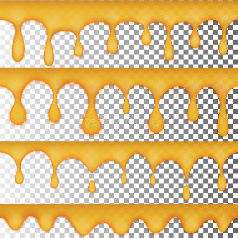 Tropfen des goldenen Honigs, ein Satz von vier nahtlosen Wahlen Transparentes gelbes Gelee lizenzfreie abbildung