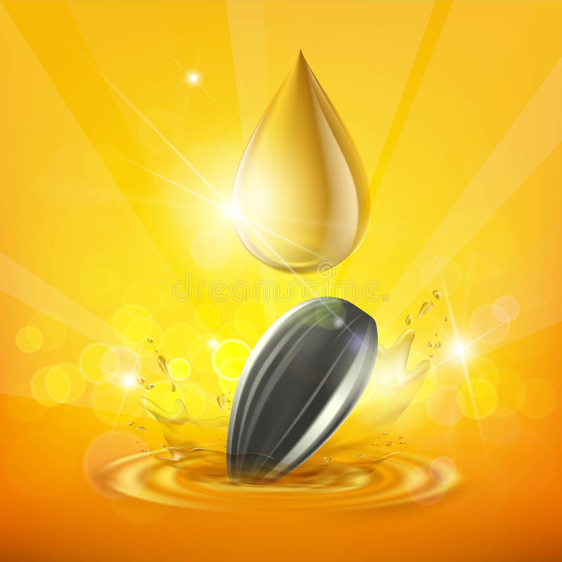 Tropfen des Sonnenblumenöles und des Samens lizenzfreie abbildung