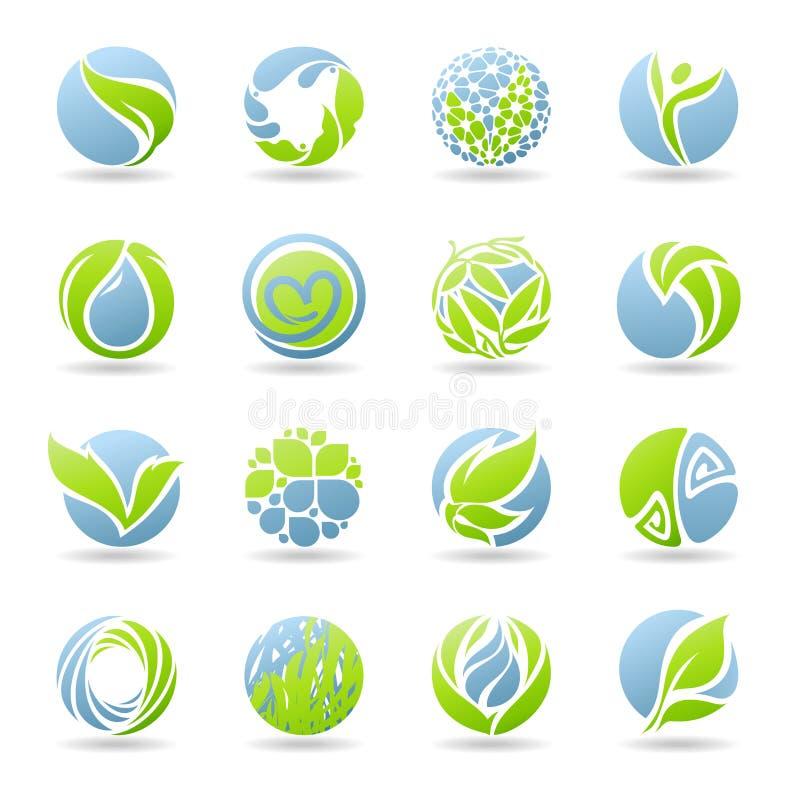 Tropfen und Blätter. Vektorzeichen-Schablonenset. lizenzfreie abbildung