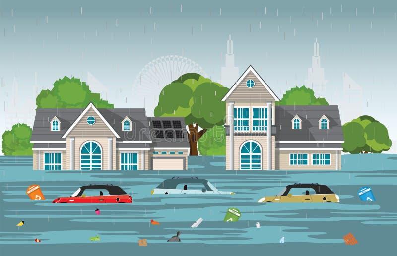 Tropfen und Stadt des starken Regens überschwemmen im modernen Dorf lizenzfreie abbildung