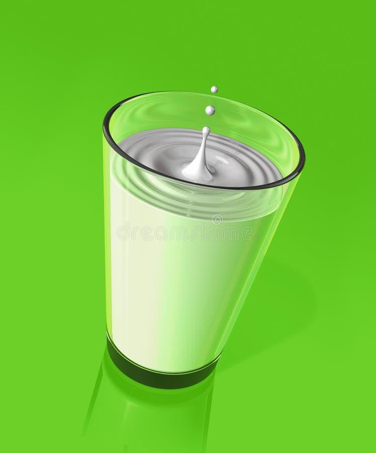 Tropfen von Milch und von Kräuselung eines Milchglases vektor abbildung
