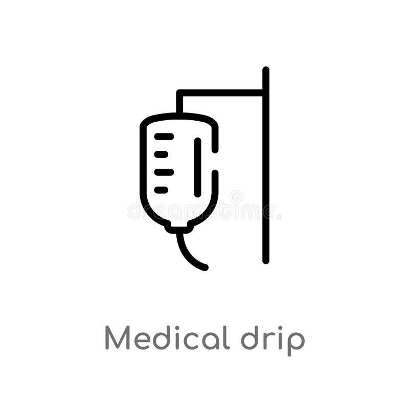 Tropfenf?nger-Vektorikone des Entwurfs medizinische lokalisiertes schwarzes einfaches Linienelementillustration von der Gesundhei lizenzfreie abbildung