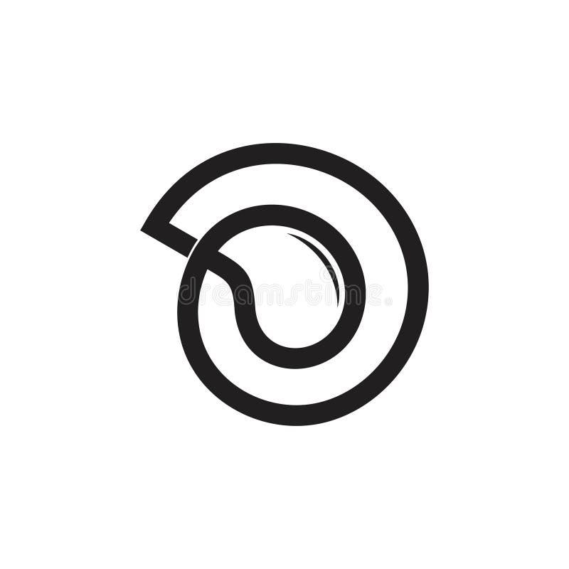 Tropfenwasser-Formlinie Logovektor des Buchstaben d lizenzfreie abbildung