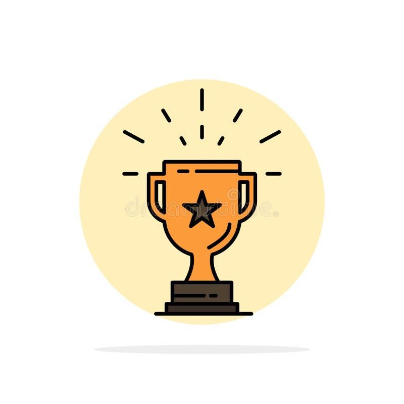 Trophäe, Leistung, Preis, Geschäft, Preis, Gewinn, flache Ikone Farbe des Sieger-Zusammenfassungs-Kreis-Hintergrundes lizenzfreie abbildung