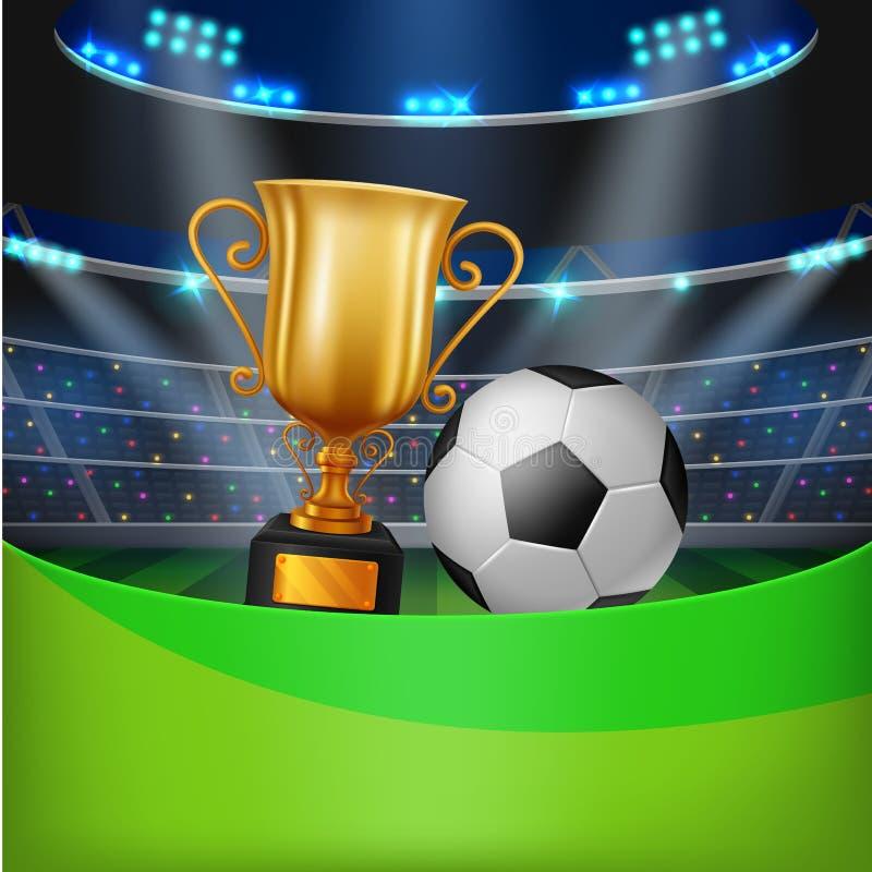 Trophäe und Fußball mit Stadion lizenzfreie abbildung