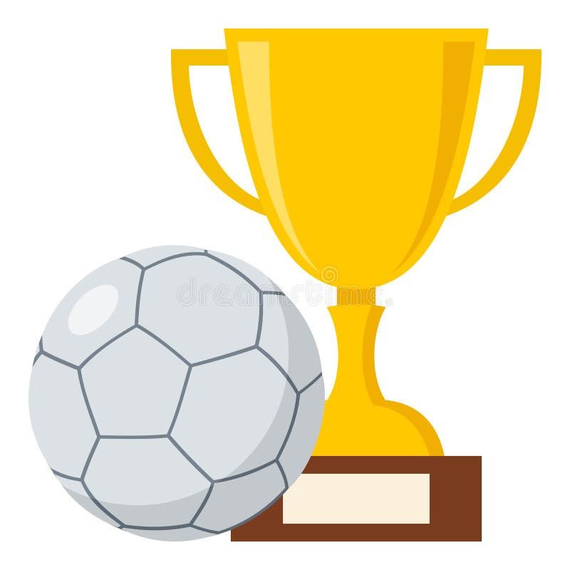 Trophäen-Schale und Futsals-Ball-flache Ikone lizenzfreie abbildung