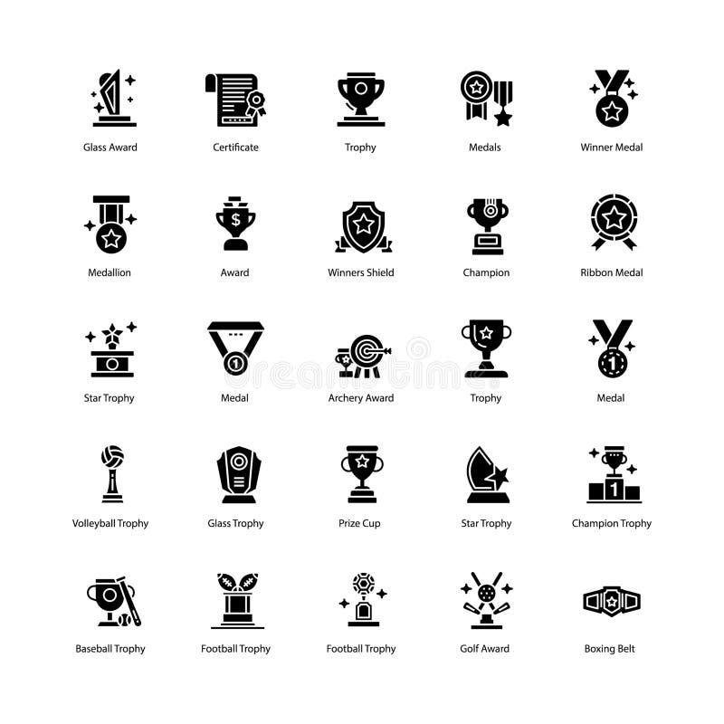 Trophäen und Preis-Ikonen verpacken vektor abbildung