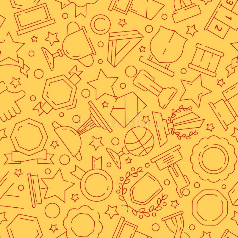 Trophäenmuster Sportsiegerbelohnungen Medaille und dünne Linie Ikonen des nahtlosen Hintergrundes des Cuptextilbeschaffenheitsvek vektor abbildung