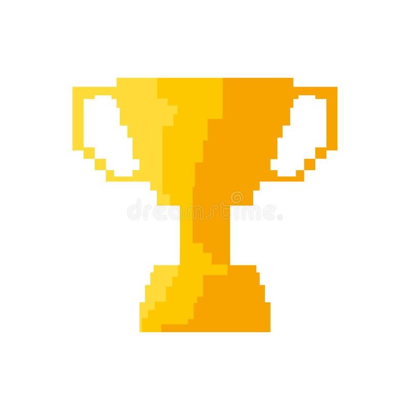 Trophée d'or de jeu vidéo de pixel illustration stock