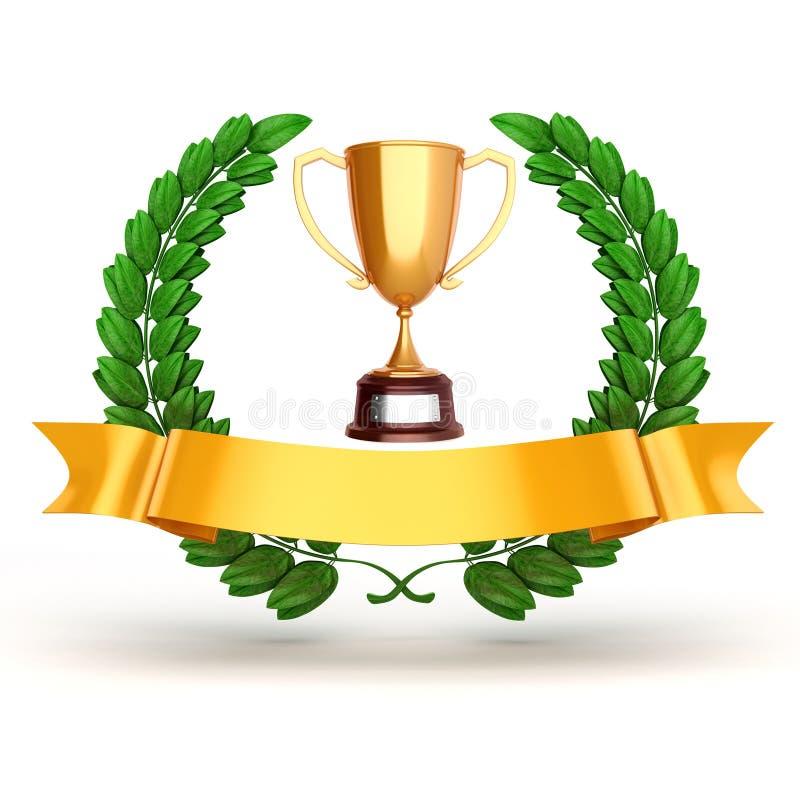 trophée 3d et laurier d'or illustration libre de droits