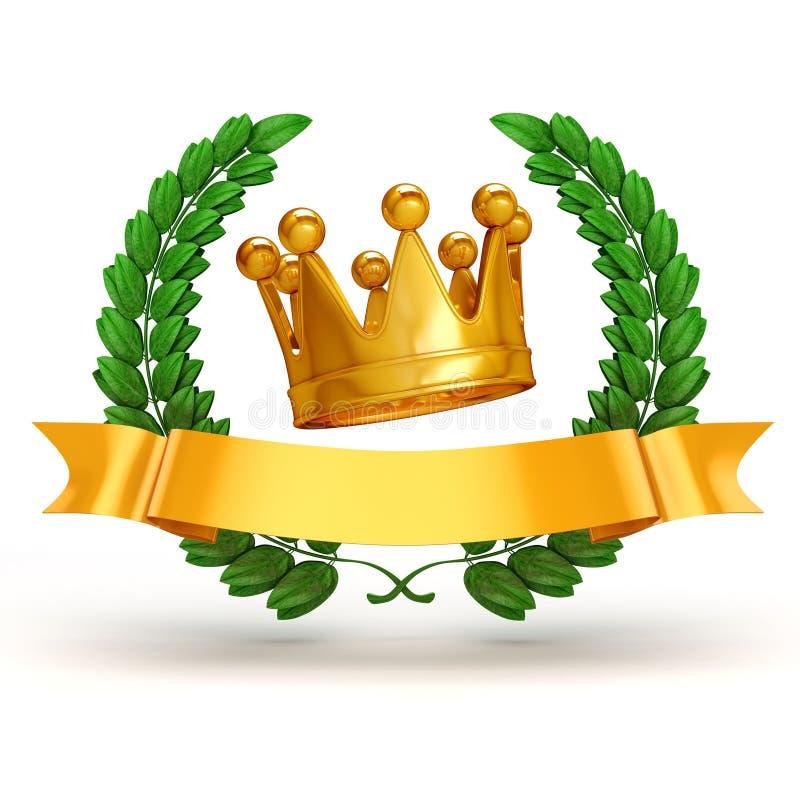 trophée 3d et laurier d'or illustration de vecteur