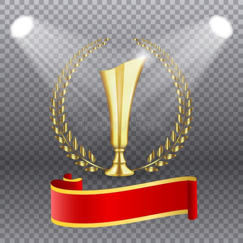 Trophée d'or réaliste avec de l'or Laurel Wreath, illustration de vecteur illustration stock