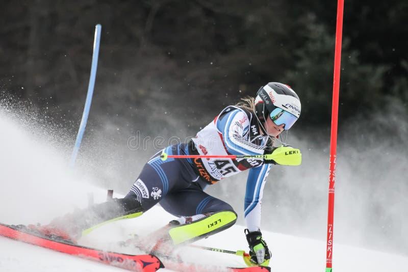 Trophée 2019 de la Reine de neige - slalom de dames images libres de droits