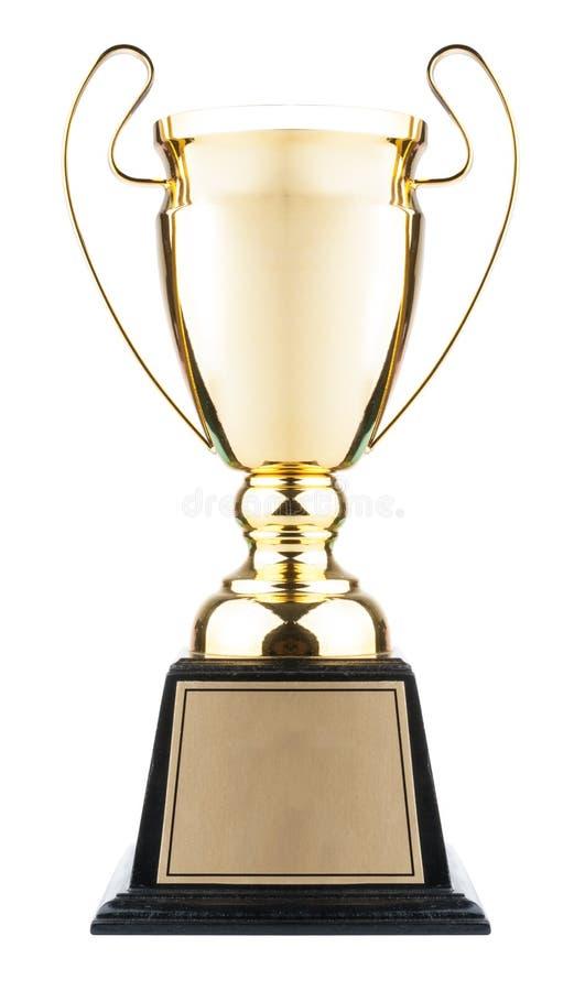 Trophée de tasse d'or d'isolement sur le blanc photo stock