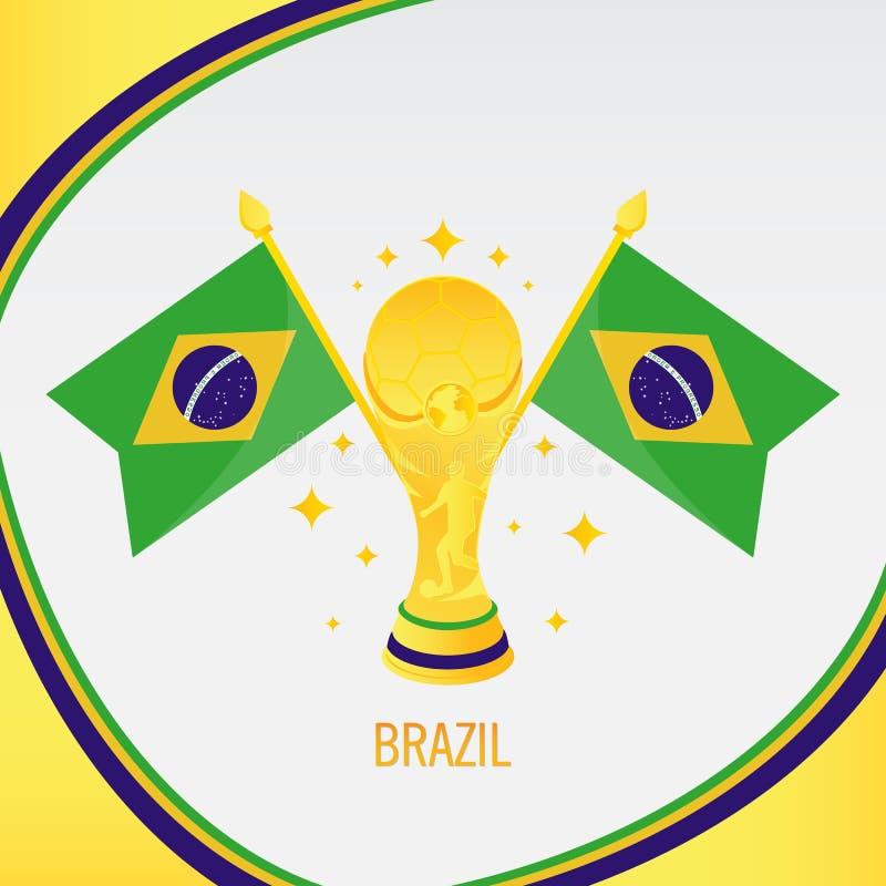 Trophée/tasse et drapeau du football d'or du Brésil photos stock
