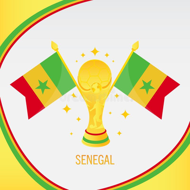 Trophée/tasse et drapeau du football d'or du Sénégal illustration de vecteur